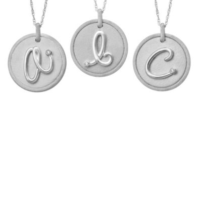 Violet and Sienna Sterling Silver Initial Disc Pendant with Pave Diamonds