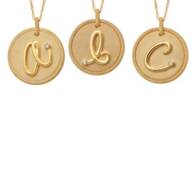 "Violet and Sienna 14K Yellow Gold Plated Sterling Silver .01 cttw Diamond Letter ""B"" Disc Pendant"