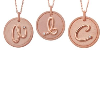 "Violet and Sienna 14K Rose Gold Plated Sterling Silver .01 cttw Diamond Letter ""A"" Disc Pendant"
