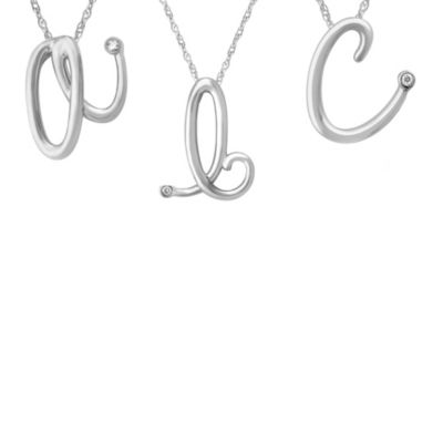 "Violet and Sienna Sterling Silver .01 cttw Diamond Letter ""D"" Pendant"