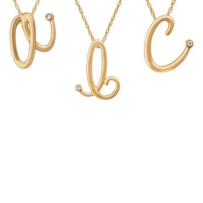"Violet and Sienna 14K Yellow Gold Plated Sterling Silver .01 cttw Diamond Letter ""B"" Pendant"