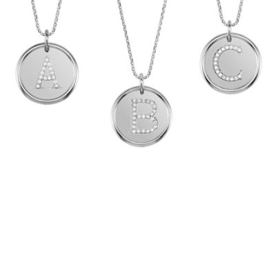 Sterling Silver Posh Mommy® Roxy Initial Necklace Set w/ 1/12 cttw Diamonds w/ 18-Inch Chain