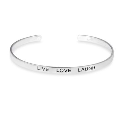 Sterling Silver Inspirational Live Love Laugh Cuff Bracelet