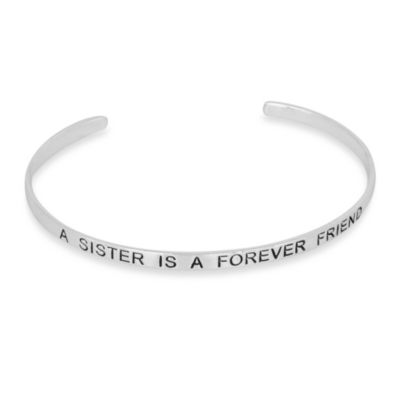 "Sterling Silver Inspirational ""A Sister Is a Forever Friend"" Cuff Bracelet"