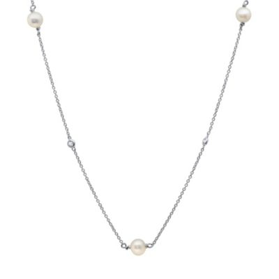 CRISLU Freshwater Cultured Pearl and Cubic Zirconia Necklace