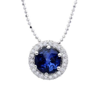CRISLU Sugar Drop Sapphire Colored and Pave Cubic Zirconia Pendant