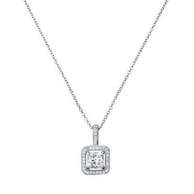 CRISLU Micro Pave Cubic Zirconia Princess Cut Square Drop Necklace