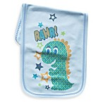 Clever Birds® Blue Dino Patchwork Animals Burp Cloth