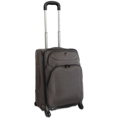 "Traveler's Club 21"" Expandable 4-Wheel Rolling Spinner Carry On Luggage in Charcoal"