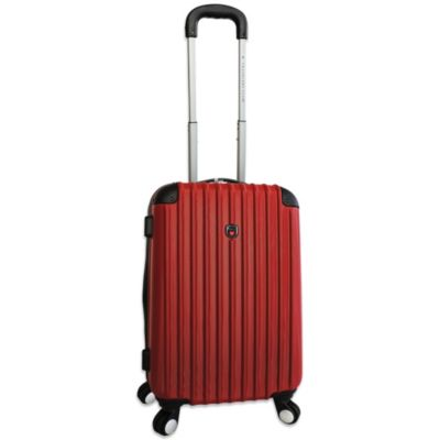 Traveler's Club 21-Inch Expandable 4-Wheel Rolling Spinner Carry On Hardside Luggage in Red