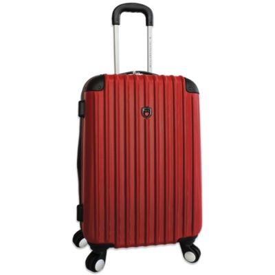Traveler's Club 25-Inch Expandable 4-Wheel Rolling Spinner Hardside Luggage in Red