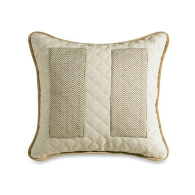 Fairfield Herringbone and Natural Linen Pocket Throw Pillow