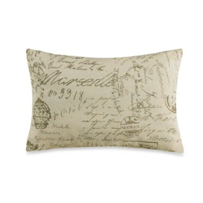 HiEnd Accents Fairfield Printed French Script Throw Pillow - www.BedBathandBeyond.com