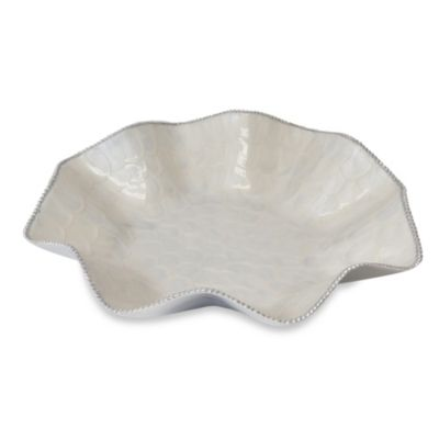 Simplydesignz Bodoni Perle 16-Inch Ruffle Platter in Ivory