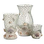 Home Essentials & Beyond Mosaic Hurricane with Shells Votive Holder