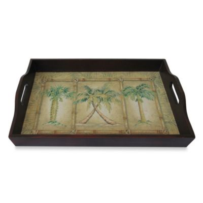 18-Inch Wood Palm Art Serving Tray