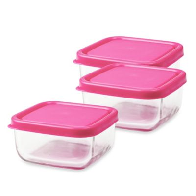 Innobaby The Glass 4-Ounce Baby Food Cubes in Pink (Set of 3)