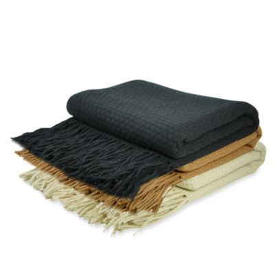 Pur Cashmere Basket Weave Throw in Black