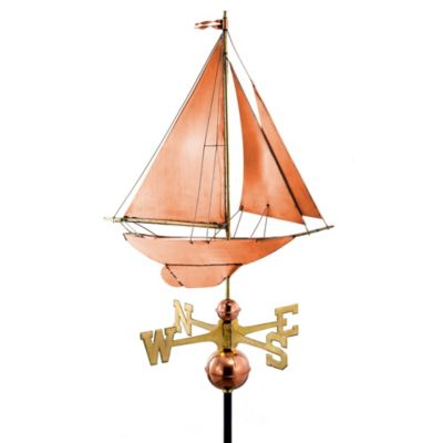 Good Directions Racing Sloop Weathervane in Polished Copper Finish