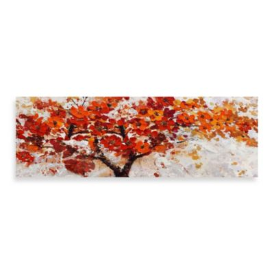 Red Embellished Canvas Tree 60-Inch x 20-Inch Wall Art