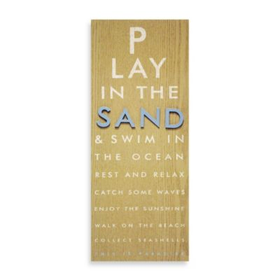 """Play in the Sand"" Raised Icon Eye Chart Wall Plaque"