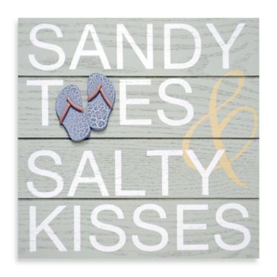 Sandy Feet & Salty Kisses Rustic Icon Plaque in Blue