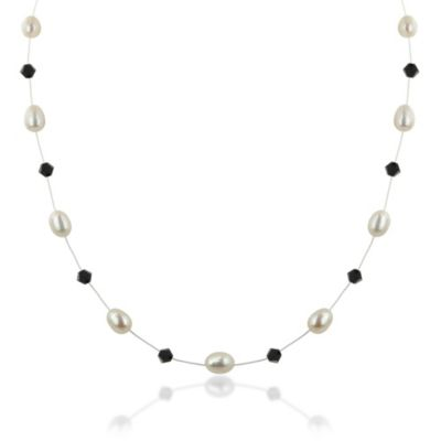 Honora Sterling Silver Freshwater Cultured Pearl/Swarovski Crystal Floater Necklace in Jet Black