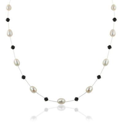 Honora Sterling Silver Freshwater Cultured Pearl/Swarovski Crystal Floater Necklace in Jet Black