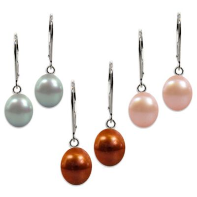 Honora Sterling Silver 8-9mm Freshwater Cultured Pearl Drop Earrings