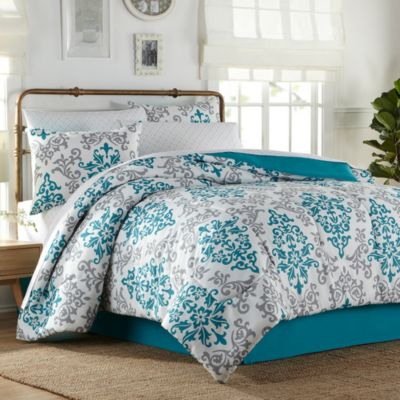 Carina 8-Piece King Comforter Set in Turquoise