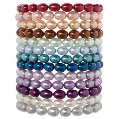 Honora Sterling Silver 6-7mm Freshwater Cultured Pearl Oval 7.25-Inch Bracelet in Mint