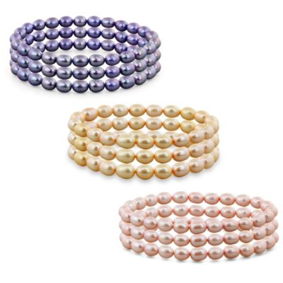 Honora 6-7mm Freshwater Cultured Pearl Oval 7.25-Inch Stretch Bracelets in Chocolate (Set of 3)