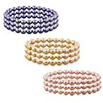 Honora 6-7mm Freshwater Cultured Pearl Oval 7.25-Inch Stretch Bracelets (Set of 3)