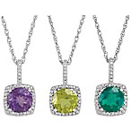 Sterling Silver Gemstone and .015 cttw Diamond Birthstone Necklace