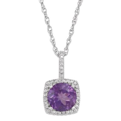 Sterling Silver Amethyst and .015 cttw Diamond February Birthstone Necklace