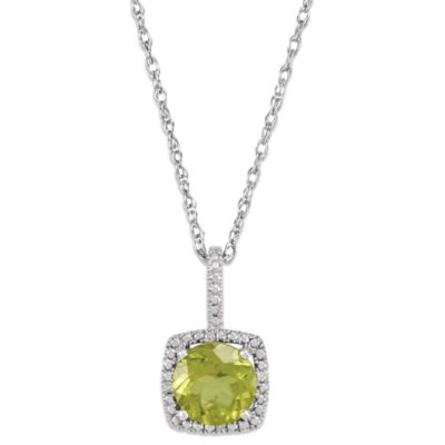 Sterling Silver Peridot and .015 cttw Diamond August Birthstone Necklace