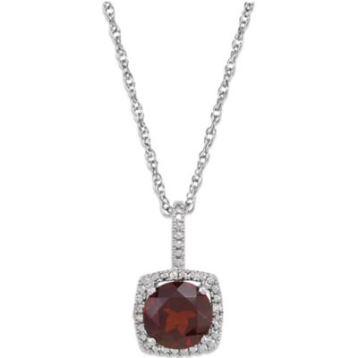Sterling Silver Mozambique Garnet and .015 cttw Diamond January Birthstone Necklace