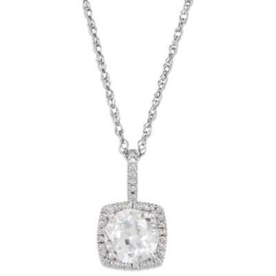 Sterling Silver Created White Sapphire and .015 cttw Diamond April Birthstone Necklace