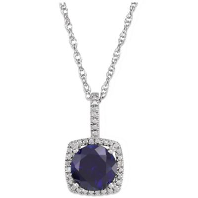 Sterling Silver Created Blue Sapphire and .015 cttw Diamond September Birthstone Necklace