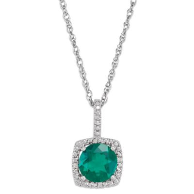Sterling Silver Created Emerald and .015 cttw Diamond May Birthstone Necklace