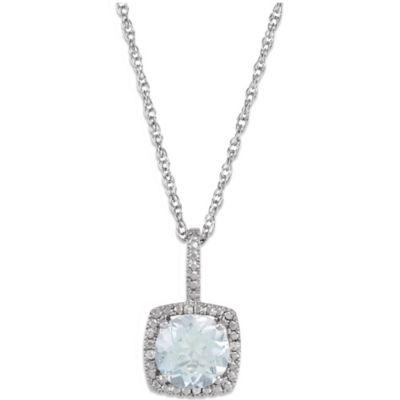 Sterling Silver Sky Blue Topaz and .015 cttw Diamond December Birthstone Necklace