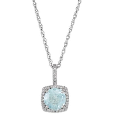 Sterling Silver Aquamarine and .015 cttw Diamond March Birthstone Necklace