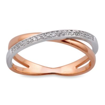 Violet and Sienna 14K Rose Gold 0.08 cttw Diamond Crossover Size 7 Ring