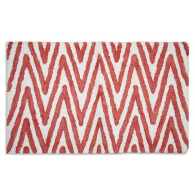 Berros Bath Rug in Coral/White