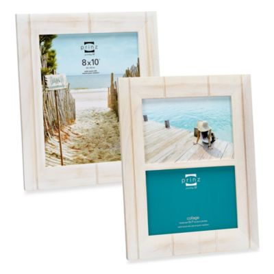 Prinz Seaside Distressed Wood 8-Inch x 10-Inch Wooden Frame in White