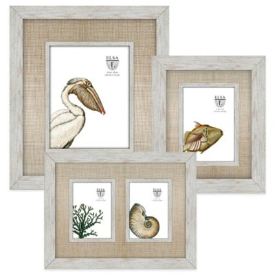 Elsa L 2-Opening Picture Frame with Rattan Mat in Cream
