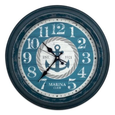Blue Metal with Anchor Dial 16-Inch Wall Clock