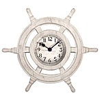 Resin Ship's Wheel Clock in Weathered Ivory Finish