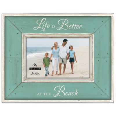 Malden® Coastal Collection 4-Inch x 6-Inch Picture Frame in Aqua