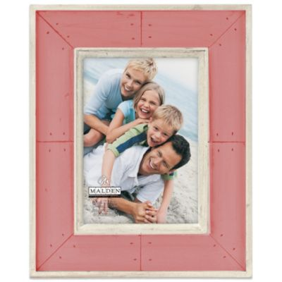 Malden® Coastal Collection 5-Inch x 7-Inch Weathered Picture Frame in Pink